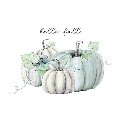The Playroom Royalty Free Images - Hello Fall Blue Pumpkin Royalty-Free Image by Sylvia Cook