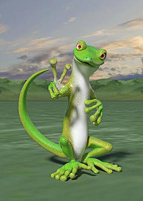 Royalty-Free and Rights-Managed Images - Hello Peace Gecko by Betsy Knapp