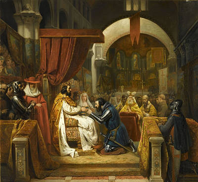 Winter Animals Royalty Free Images - Henry of Burgundy receives the investiture of the County of Portugal in 1096 from King Alfonso VI of Royalty-Free Image by Artistic Rifki