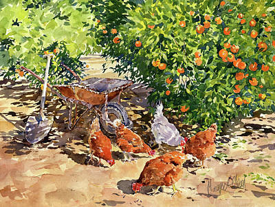 Abstract Airplane Art - Hens in my Orange Grove by Margaret Merry