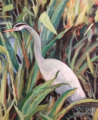Travel Rights Managed Images - Heron Among Blades of Grass Royalty-Free Image by Carolyn Alston Thomas