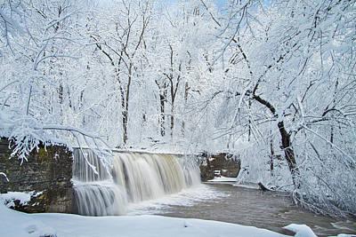 Photograph - Hidden Falls Under Winter's Blanket by Joe Miller