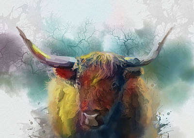 Lucille Ball Royalty Free Images - Highland Cattle Colorful Royalty-Free Image by Bekim M