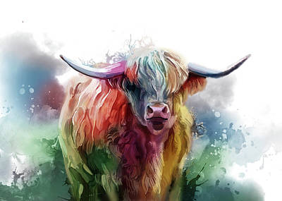 Everett Collection - Highland Cattle Colorful V3 by Bekim M