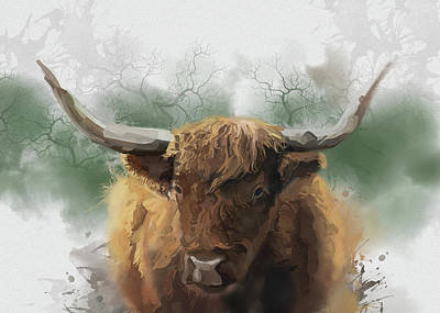 Lucille Ball Royalty Free Images - Highland Cattle Portrait Royalty-Free Image by Bekim M