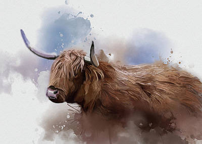 Lucille Ball Royalty Free Images - Highland Cattle Vintage Royalty-Free Image by Bekim M