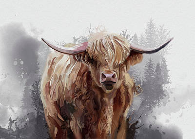 Everett Collection - Highland Cattle Watercolor by Bekim M