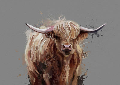Lucille Ball Royalty Free Images - Highland Cattle Watercolor V2 Royalty-Free Image by Bekim M