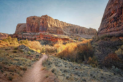 Outdoor Graphic Tees - Hike to Morning Glory Arch Moab Utah III by Joan Carroll