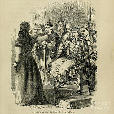Thomas Kinkade Royalty Free Images - Hildas appeal to harold harfagher d1 Royalty-Free Image by Historic illustrations