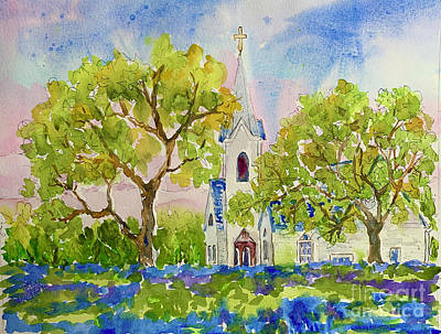 Painting - Hill Country Church by Patsy Walton