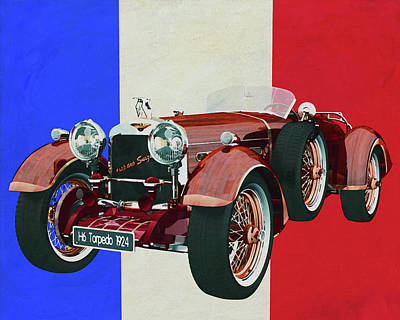 Travel - Hispano Suiza H6 Tulipwood 1924 with French flag by Jan Keteleer