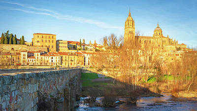 Abstract Airplane Art Rights Managed Images - Historic Bridge and Cathedral Salamanca Spain Royalty-Free Image by Joan Carroll