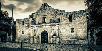 Abstract Stripe Patterns - Historic San Antonio Alamo Mission Sepia Panorama by Gregory Ballos