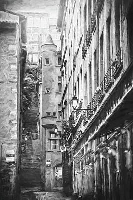 Studio Grafika Science - Historic Street Scenes of Vieux Lyon Black and White by Carol Japp