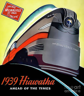 Drawings Royalty Free Images - Hiawatha Art Deco Train Poster 1939 Royalty-Free Image by Chicago Milwaukee Railroad