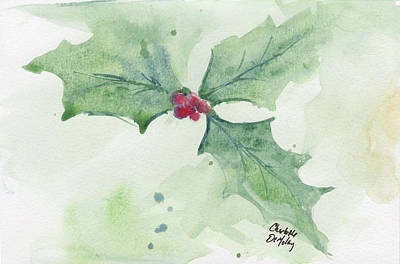 Painting - Holly Study #1 by Charlotte DeMolay