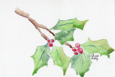 Painting - Holly Study #2 by Charlotte DeMolay