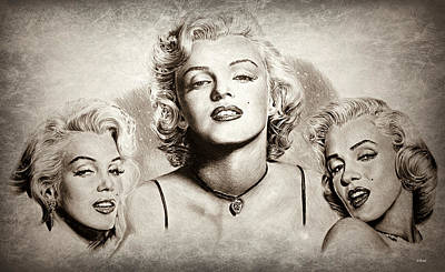 Musicians Drawings Rights Managed Images - Hollywood legends Marilyn sepia 1 Royalty-Free Image by Andrew Read