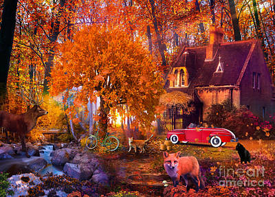 Digital Art - Hom For The Holidays With Car by MGL Meiklejohn Graphics Licensing