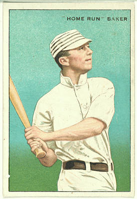 Recently Sold - Sports Royalty-Free and Rights-Managed Images - Home Run Baker Philadelphia Athletics baseball card portrait by Artistic Rifki