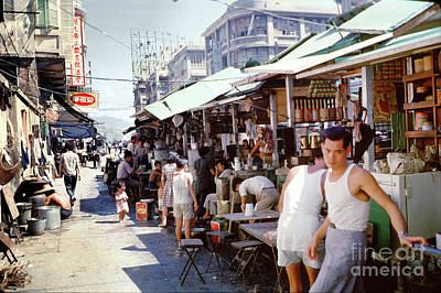 Kitchen Food And Drink Signs - Hong Kong Street Scene 1962 by Wernher Krutein