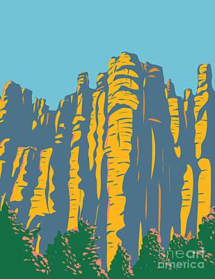 Sara Habecker Folk Print - Hoodoos in the Chiricahua Mountains Located in Chiricahua National Monument in Arizona United States WPA Poster Art by Aloysius Patrimonio