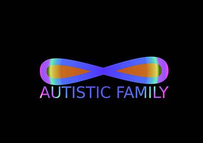 Impressionist Landscapes - Horizontal rainbow figure eight on a black background with the inscription Autistic Family by Lenka Rottova