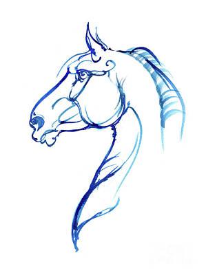 Animals Drawings - Horse head ink art 2019 12 02 by Angel Ciesniarska