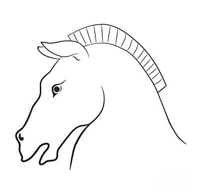 Animals Drawings - Horse head by Michal Boubin