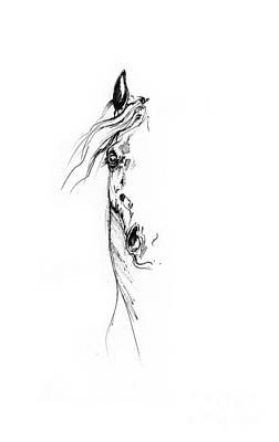 Animals Drawings - Horse head study 2014 05 16 by Angel Ciesniarska