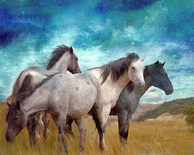 Animals Royalty-Free and Rights-Managed Images - Horse Herd at Night by Katrina Jones