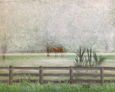 Animals Royalty-Free and Rights-Managed Images - Horse In The Mist by Karen Zuk Rosenblatt