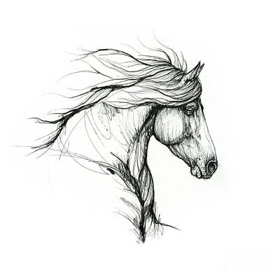 Animals Drawings - Horse ink art 2019 09 31 by Angel Ciesniarska
