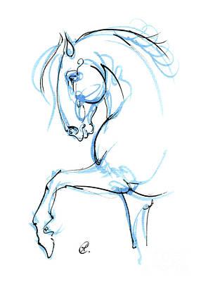 Animals Drawings - Horse ink art 2019 12 03 by Angel Ciesniarska
