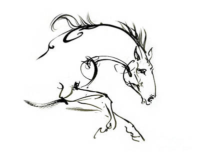 Animals Drawings - Horse ink drawing 2019 12 04 by Angel Ciesniarska