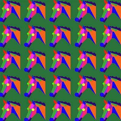 Royalty-Free and Rights-Managed Images - Horse Pattern WPAP Style Green background by Ahmad Nusyirwan