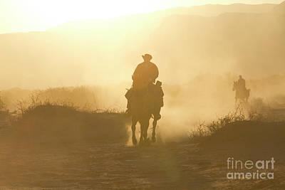 Animals Drawings - Horseback riding at sunset i1 by Eyal Bartov