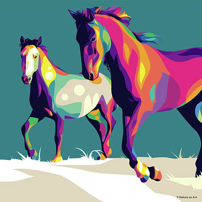 Animals Digital Art Royalty Free Images - Horses running Royalty-Free Image by Stars on Art