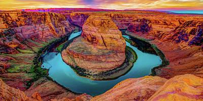 Thomas Kinkade Royalty Free Images - Horseshoe Bend Sunrise Panorama - Page Arizona Landscape Royalty-Free Image by Gregory Ballos