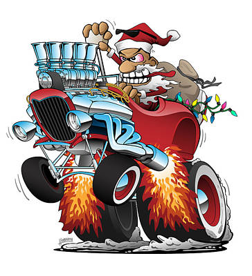 Mellow Yellow - Hot Rod Santa Christmas Cartoon by Jeff Hobrath