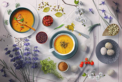 Fruits And Vegetables Still Life - Hot Soup And Eggs Lunch For Cold Winter Days by Johanna Hurmerinta