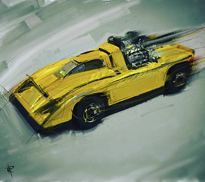 Beverly Brown Fashion Rights Managed Images - Hot Wheels Yellow Racer Royalty-Free Image by Russell Pierce