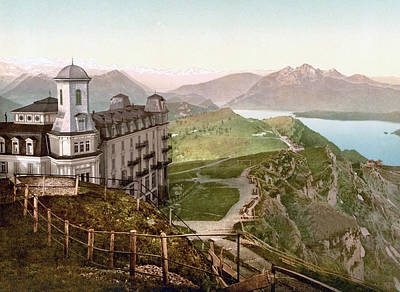 Royalty-Free and Rights-Managed Images - Hotel Rigi Kulm and the Schwyz Alps, Rigi Kulm, Schwyz, Switzerland 1890. by Joe Vella