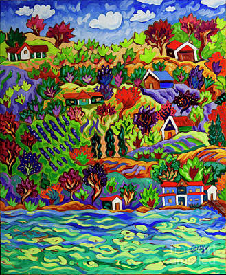 Painting - Houses on the Lake by Cathy Carey