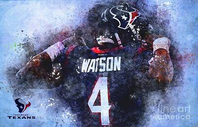 Royalty-Free and Rights-Managed Images - Houston Texas NFL American Football Team, Houston Texas Player,Sports Posters for Sports Fans by Drawspots Illustrations