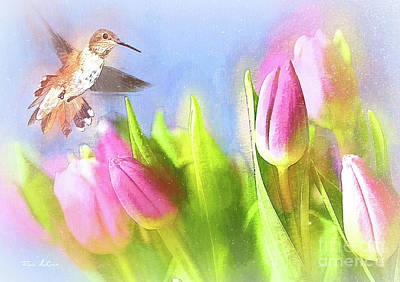 Christmas Cards - Hovering Around The Tulips by Tina LeCour