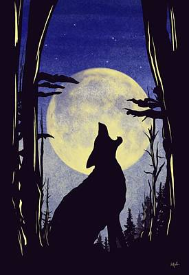 Animals Paintings - Howl by Mark Taylor