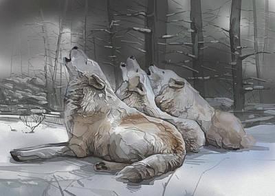 Animals Digital Art - Howlin Wolves by Bekim M