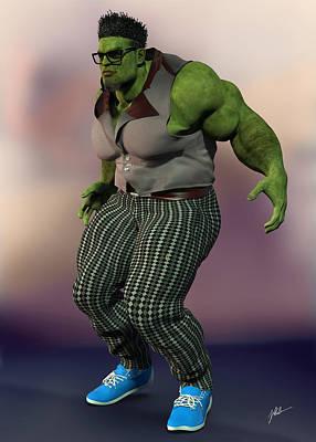 Superhero Ice Pop - Hulk, hipster, number 116 by Joaquin Abella